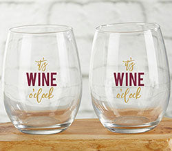 It's Wine O'Clock 15 oz. Stemless Wine Glass (Set of 4)