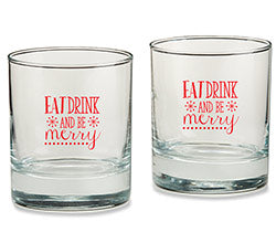 Eat, Drink & Be Merry 9 oz. Rocks Glass (Set of 4)