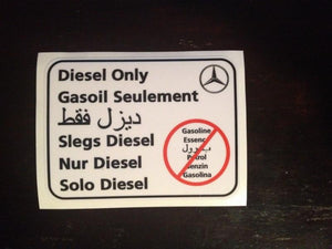 Terrawagen Diesel only sticker / Mercedes-Benz
