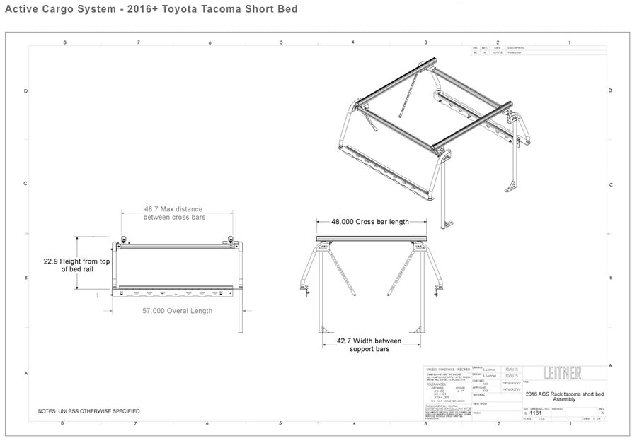 LEITNER DESIGNS - Active Cargo System - 2016+ Toyota Tacoma Short Bed