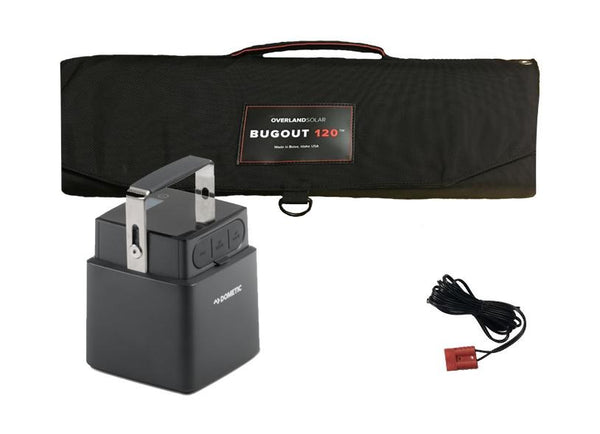 Dometic PLB40 Portable Lithium Battery & Overland Solar 130 Watt Portable Solar Panel Combo Package