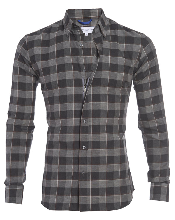 Brown and Gray Big Check Flannel- Small Batch #120