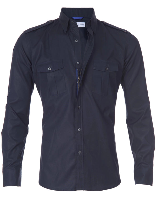 The Pilot Shirt in Midnight- Small Batch #107