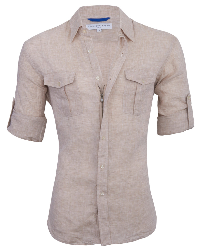 Sand Linen Safari Shirt<br>Small Batch #161