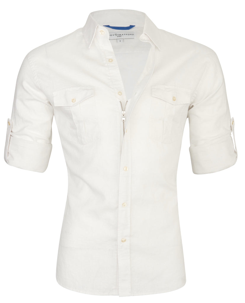 White Linen Safari Shirt <br>Small Batch #149