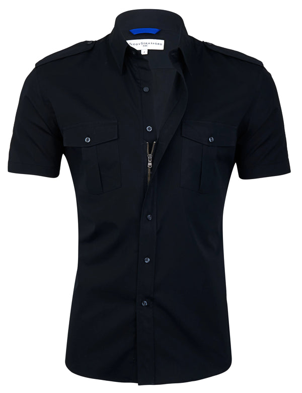 Short Sleeved Pilot Shirt in Black <br> Small Batch #79