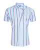 Light Blue & Navy Striped Short Sleeved Oxford- Small Batch #55