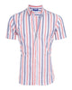 Orange and Navy Striped Short Sleeved Oxford- Small Batch #56