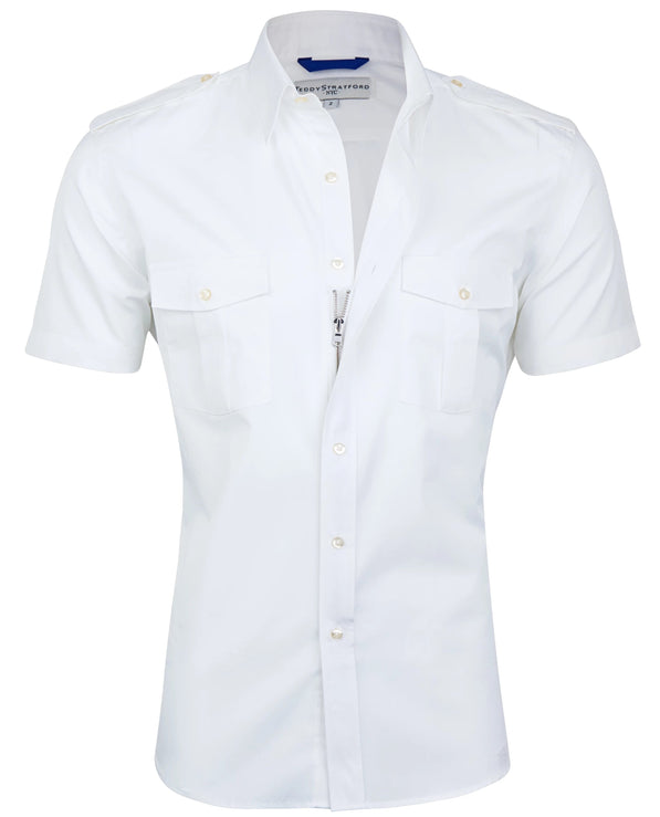 Short Sleeved Pilot Shirt in White <br> Small Batch #78