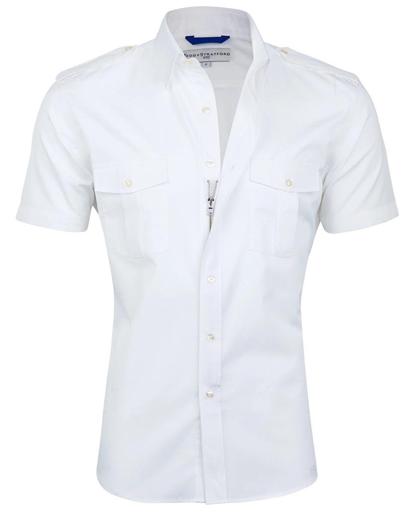Short Sleeved Pilot Shirt in White-Small Batch #78