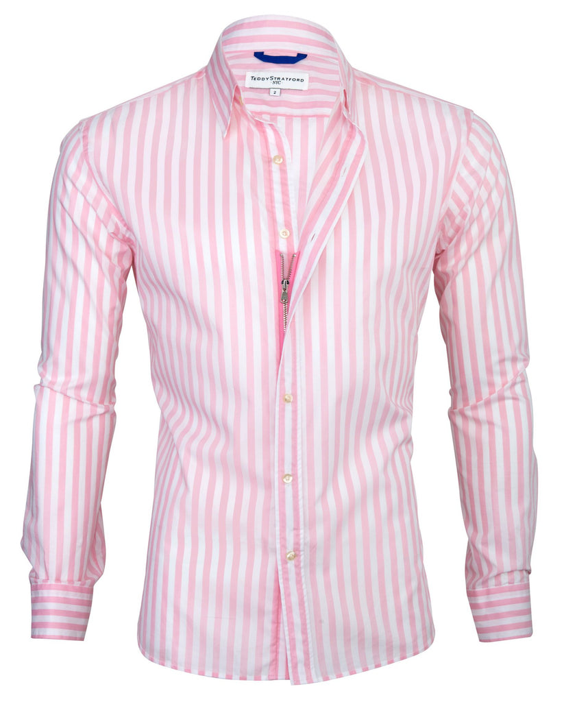 Pink Summer Wide Stripe Broadcloth <br> Small Batch #132