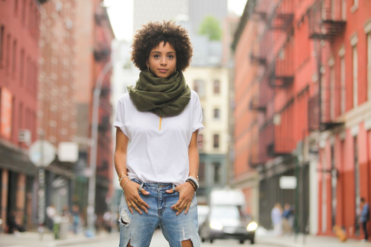 Fall Photoshoot - Girl in Olive Scarf, White T-Shirt, and Ripped Jeans Standing in the Streets of Soho