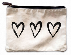 Three Hearts Canvas Pouch