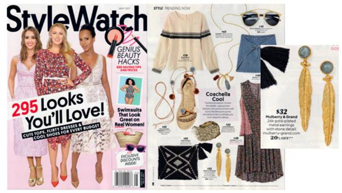 StyleWatch Magazine Mulberry & Grand featuring Labradorite Feather Earrings