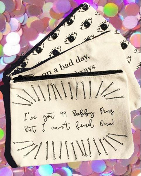 99 Bobby Pins Canvas Pouch, Inspirational Canvas Pouch - Mulberry & Grand