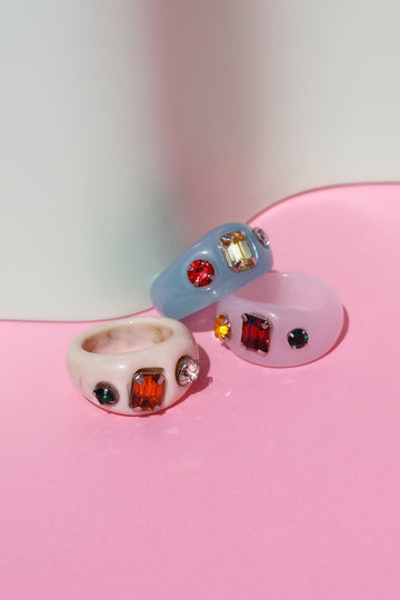 Abstract Rhinestone Resin Ring Rings Mulberry & Grand