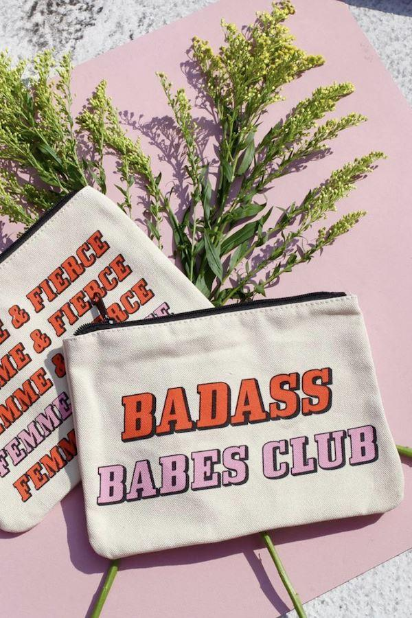 Badass Babes Club Canvas Pouch, Inspirational Canvas Pouch - Mulberry & Grand