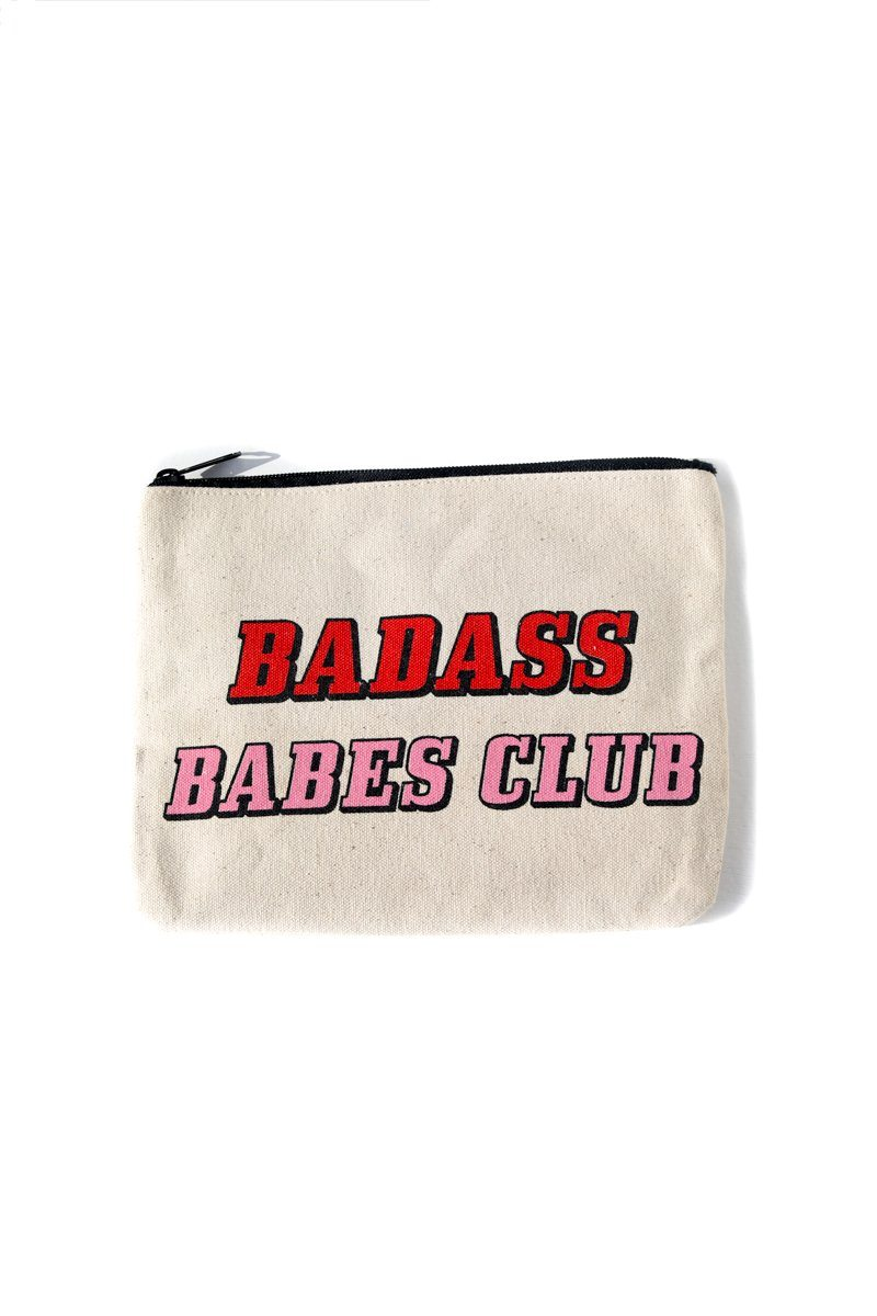 Badass Babes Club Canvas Pouch Inspirational Canvas Pouch Mulberry & Grand