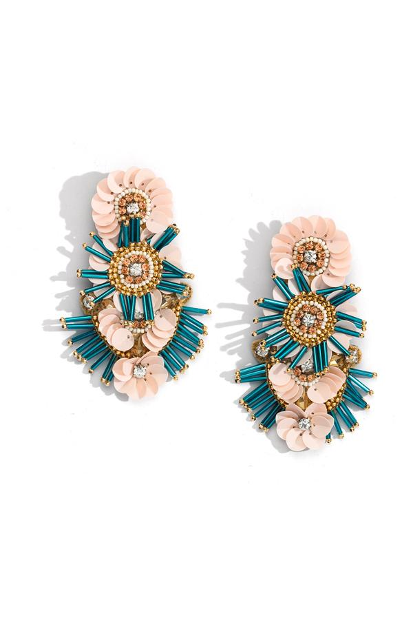 Bead and Raffia Statement Earring by Mulberry and Grand
