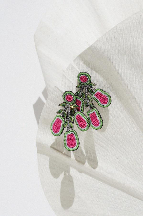 Beaded Guava Statement Earrings