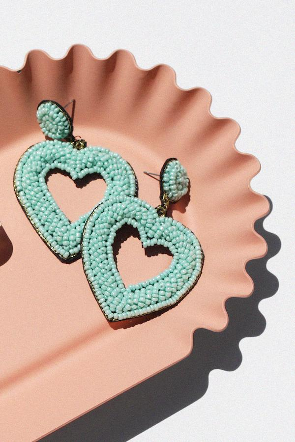 Beaded Open Heart Drop Earrings