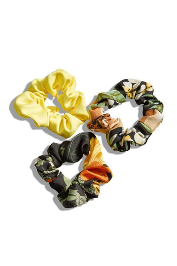 Black and Yellow Floral Scrunchie Set