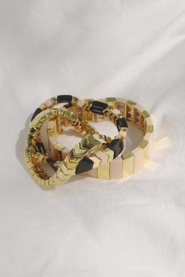 Blush and Gold Enamel Bracelet Stack