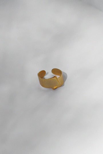 Brushed Gold Fold Ring