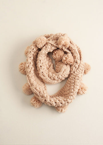 Cable Knit Pom-Pom Infinity Scarf in Blush Scarves Look by M Default