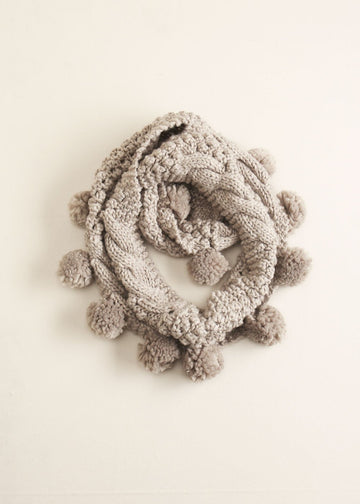 Cable Knit Pom-Pom Infinity Scarf in Grey Scarves Look by M Default