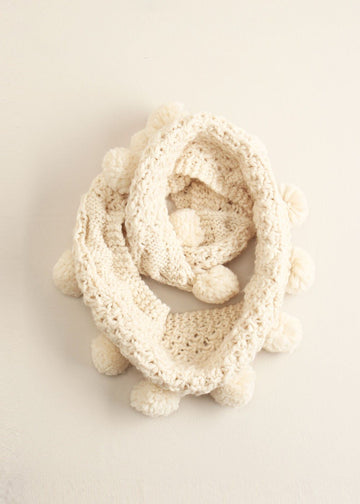 Cable Knit Pom-Pom Infinity Scarf in Ivory Scarves Look by M Default