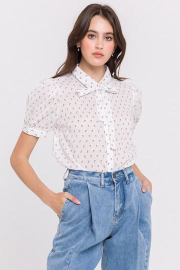 Cherry Dotted Puff Sleeve Top