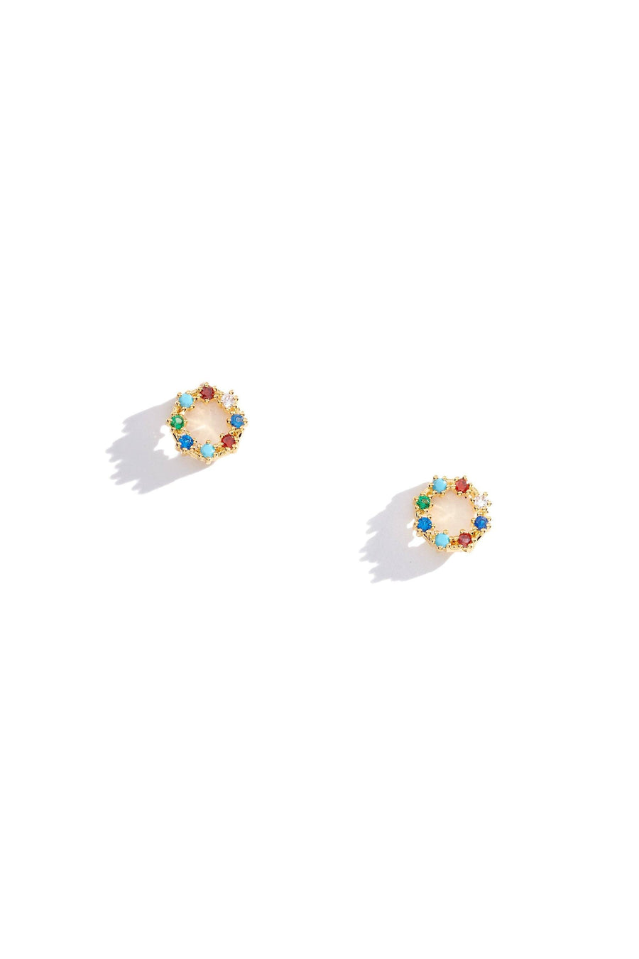 Circle Crystal Rainbow Charm Earrings, Charm Earrings - Mulberry & Grand