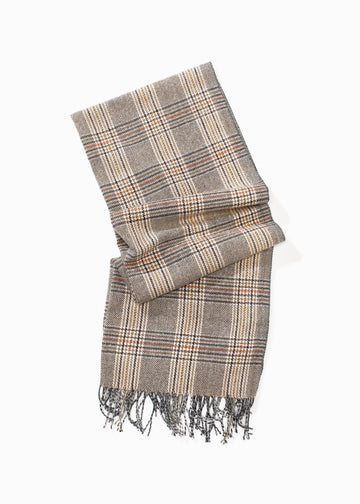 Classic Neutral Plaid Scarf