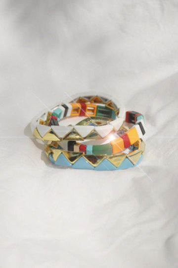 Colorful Triangle Enamel Bracelet Set
