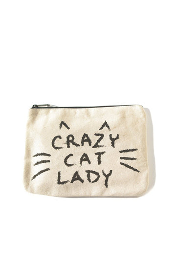 Crazy Cat Lady Canvas Pouch Inspirational Canvas Pouch Mulberry & Grand