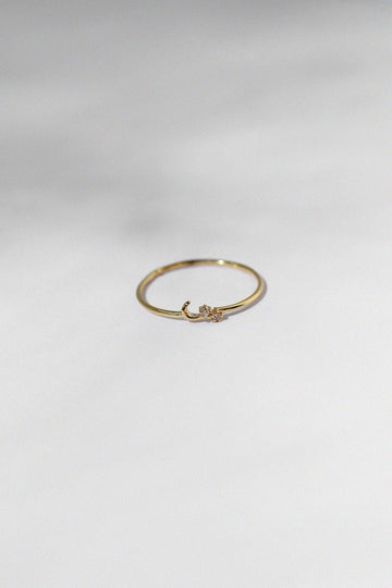 Crescent Moon & Flowers Ring