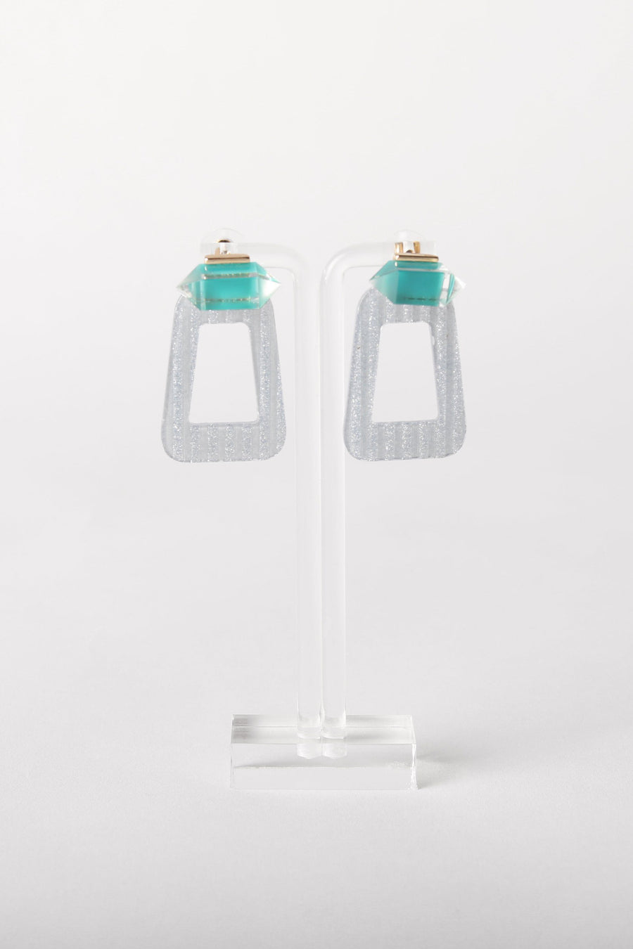 Crystal and Glitter Resin Earrings
