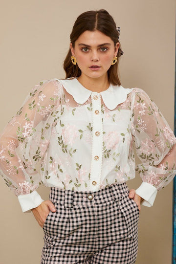 Dizzied Floral Embroidered Blouse Clothing Sister Jane