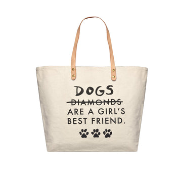 Dog's Are A Girls Best Friend Canvas Tote Bag, Canvas Tote Bag - Mulberry & Grand