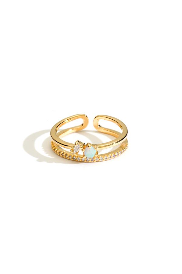 Double Band Crystal and Opal Stacking Ring