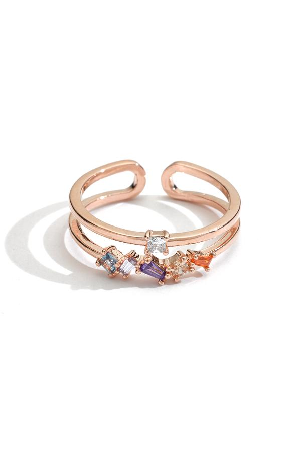 Double Band Crystal Cluster Stacking Ring