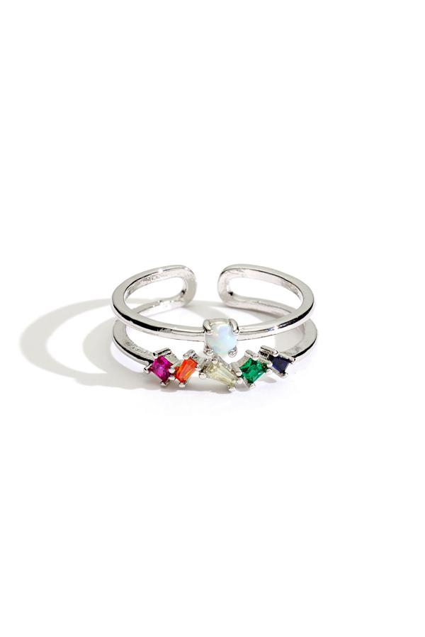 Double Band Rainbow Stacking Ring
