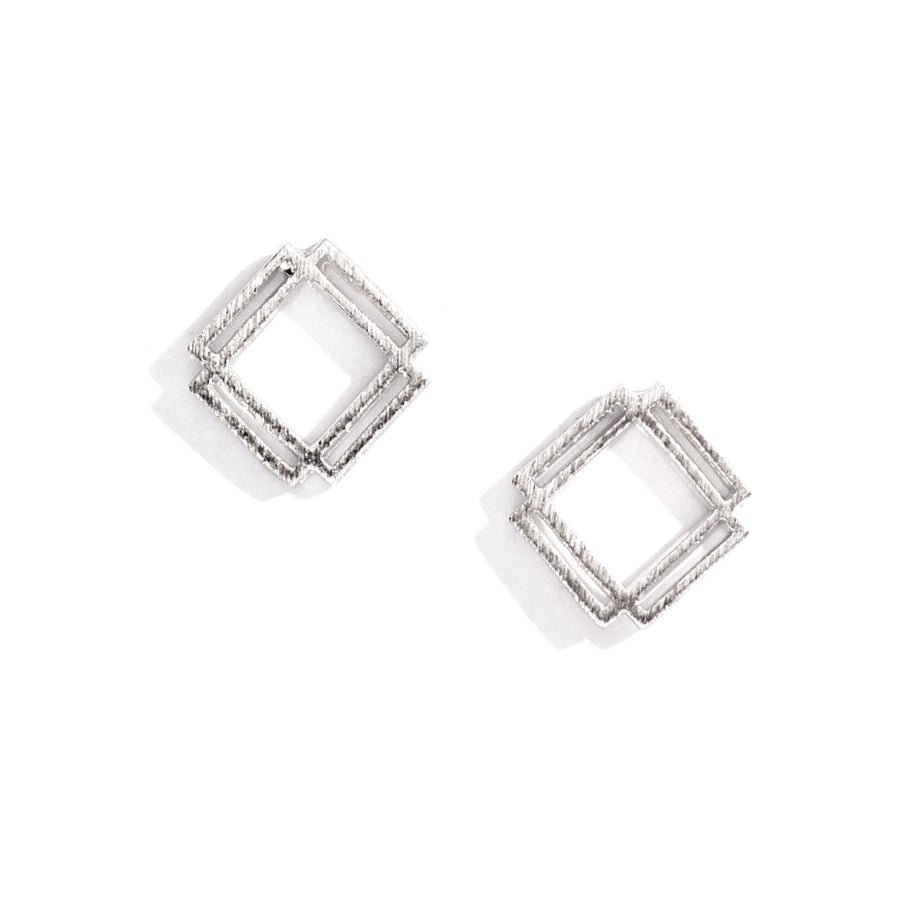 Double Open Square Charm Earrings, Charm Earrings - Mulberry & Grand