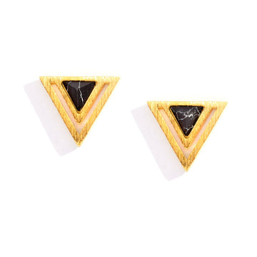 Double Triangle Charm Earrings in Gold, Charm Earrings - Mulberry & Grand