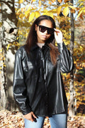 Faux Leather Shacket Clothing Renamed S