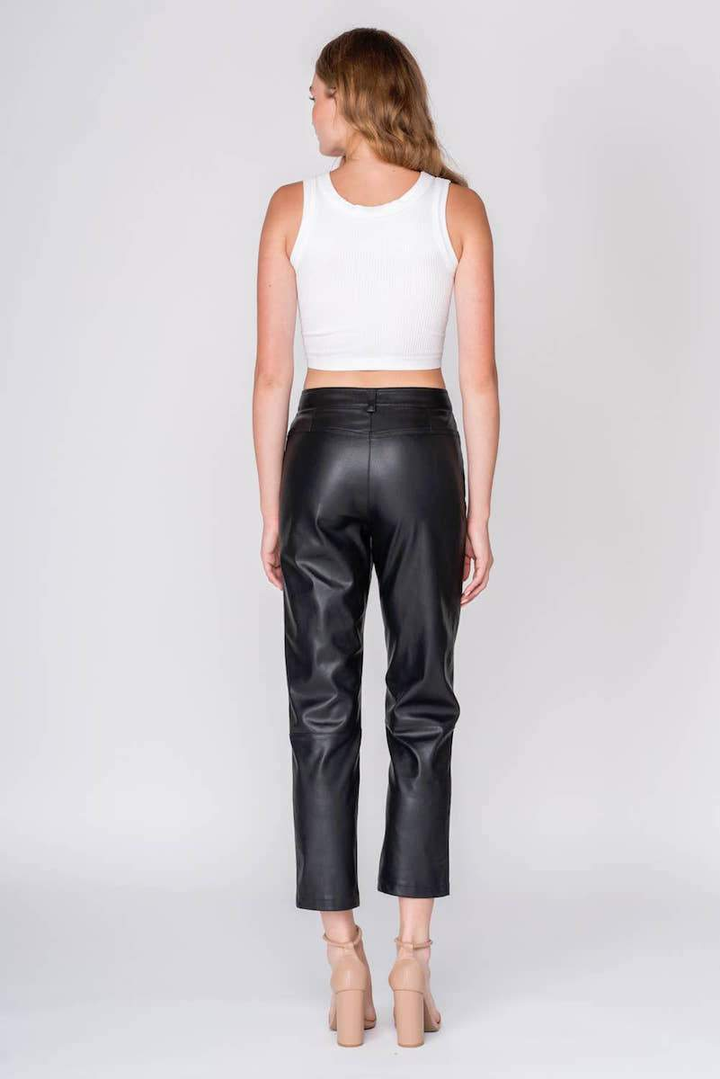 Faux Leather Straight Legged Tapered Pants Clothing Fore Collection