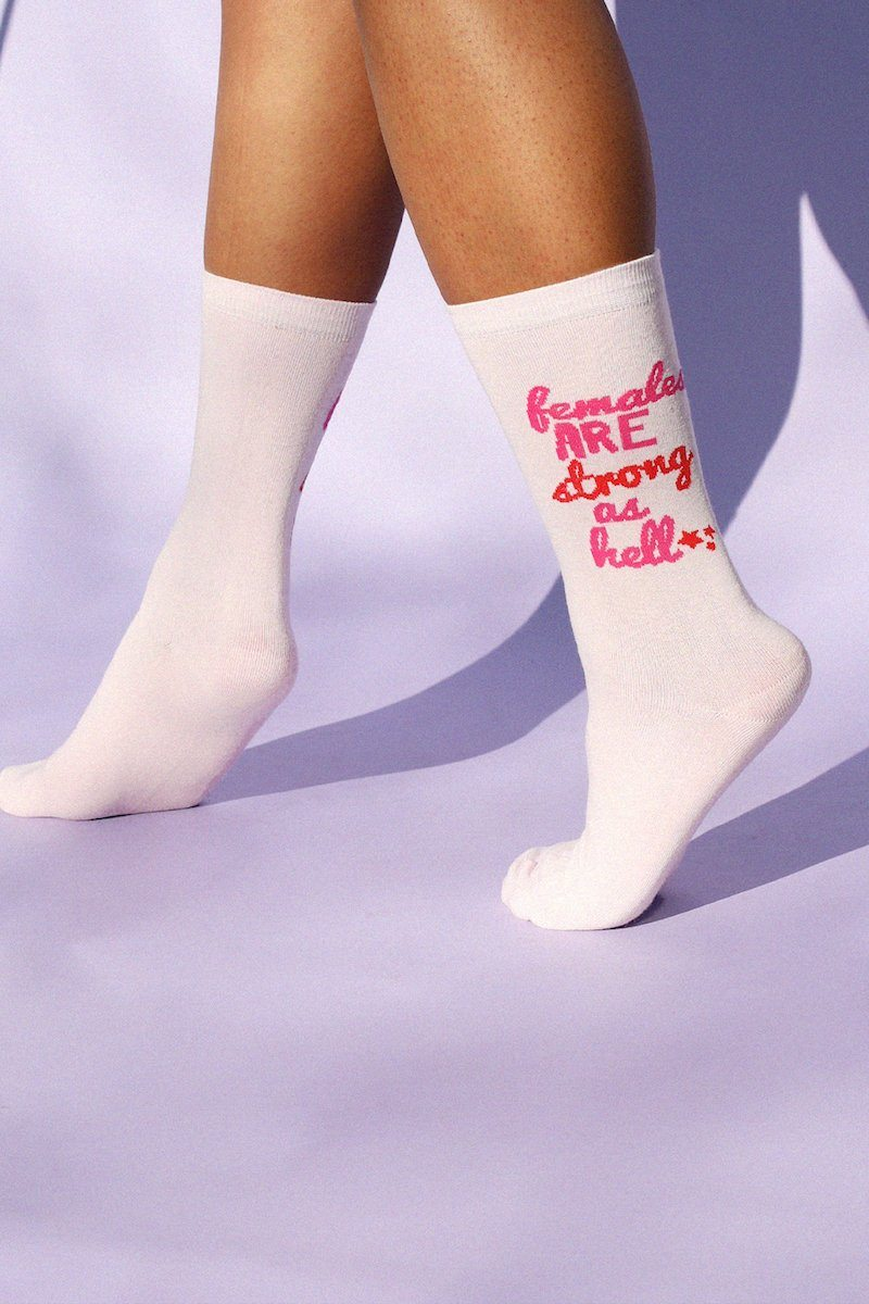 Females Are Strong As Hell Socks Socks Mulberry & Grand