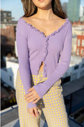 Find Me Now Charlie Ruffle Knit Top Lavender Clothing Find Me Now S/M