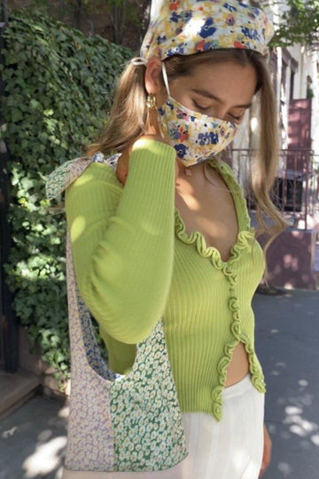 Find Me Now Charlie Ruffle Knit Top Lime Clothing Find Me Now S/M